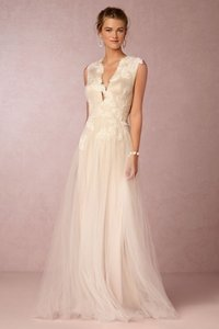 BHLDN Cream / Grey / Taupe Nylon Tulle; Poly-lining Rosemary Formal Wedding Dress Size 2 (XS)