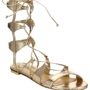 SCHUTZ Metallic Lace-up Gladiator Metallic-Platinum Sandals