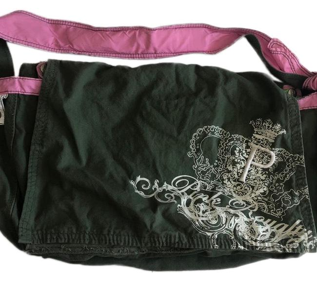 PINK Olive Green and Cotton Weekend/Travel Bag PINK Olive Green and Cotton Weekend/Travel Bag Image 1