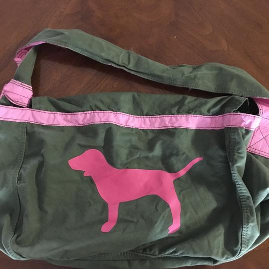 PINK Olive Green and Pink Travel Bag