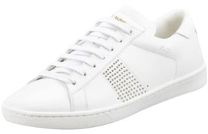 Saint Laurent Leather Sneakers Studded Lace-up White Athletic