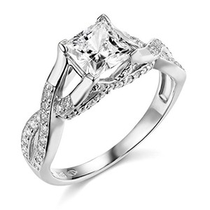 Twist Princess Cut .925 Sterling Silver Rhodium Plated Wedding Engagement Ring Sizes 5 6 7 8 9
