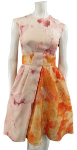 Dior short dress Orange Floral Cocktail Watercolor A Line Belted on Tradesy