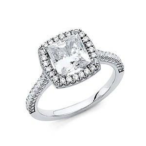 Princess Cut .925 Sterling Silver Rhodium Plated Wedding Engagement Ring Sizes 5 6 7 8 9
