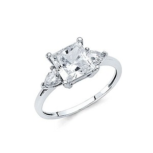 Princess Cut Three Stones .925 Sterling Silver Rhodium Plated Wedding Engagement Ring Sizes 5 6 7 8 9