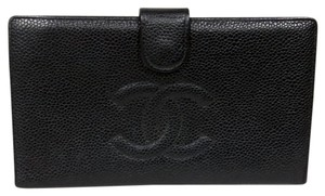Chanel Chanel Black Noir Big CC Monogram Caviar Grained Leather Long Wallet
