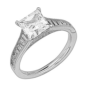 Princess Cut .925 Sterling Silver Rhodium Plated Sizes 5 6 7 8 9 Engagement Ring