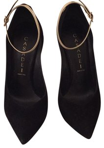 Casadei Black Suede with Metallic Ankle Strap/Heel Pumps