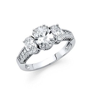 Oval Cut .925 Sterling Silver Rhodium Plated Wedding Engagement Ring Sizes 5 6 7 8 9