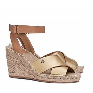 Tory Burch Gold/Royal Tan Wedges