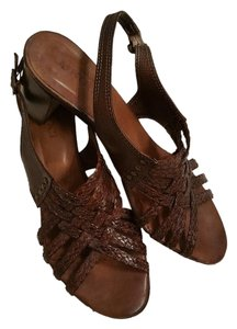 Sesto Meucci Leather Italy Brown Sandals