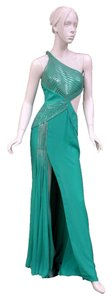 Versace Silk Embellished Beaded Gown Dress