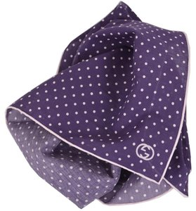 Gucci Gucci 314255 Purple and White Voile Cotton GG Handkerchief Scarf