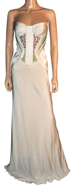 Item - White New Embroidered Silk Gown Long Formal Dress Size 2 (XS)