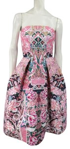 MARY KATRANTZOU Floral Strapless Bustier Cocktail Pleated Dress