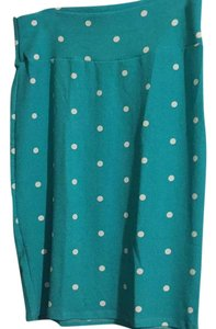 LuLaRoe Skirt Teal w/ white polka dots