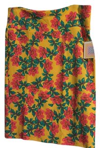 LuLaRoe Skirt Yellow with floral pattern