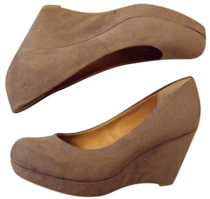 a.n.a. a new approach Suede Wedge Heel Beige Pumps