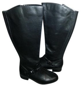 Me Too Leather Riding Heel Black Boots