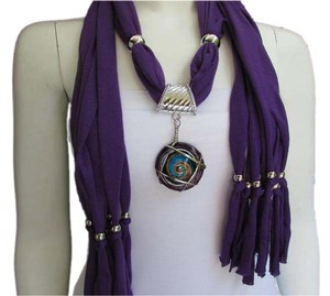 PURPLE SOFT FABRIC SCARF LONG NECKLACE ROUND GLASS SWIRL PENDANT