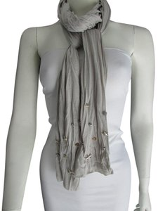 Other GRAY SCARF SILVER WITH METALSTARS STUDS CASUAL FASHION DESIGN FLOWY