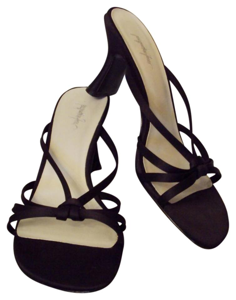 a9d32eef1d7 Jacqueline Ferrar Satin Strappy Medium Heels Slides Mules Black Sandals  Image 0 ...