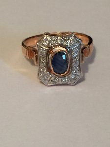 Vintage Russian 14kt Rose Gold Diamond Sapphire Cocktail Ring