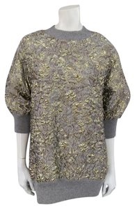 Dolce&Gabbana Gold Floral Metallic Textured Jacquard Sweater