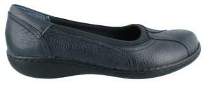 Clarks Leather Navy Flats