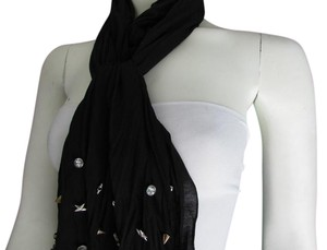 Other WOMEN BLACK SCARF LONG NECKLACE SILVER METAL STARS STUDS
