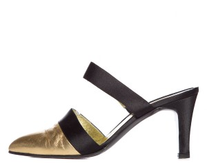 Chanel Black & Gold Mules