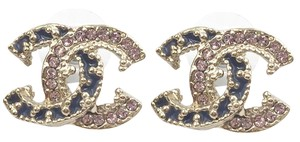 Chanel Chanel Gold CC Pink Crystal Purple Enamel Piercing Earrings