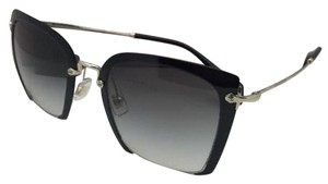 Miu Miu MIU MIU Sunglasses SMU 52R 1AB-0A7 52-24 Black & Gold w/Grey Gradient