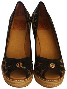 Tory Burch Brown Black Jackie Espadrille Peep Toe Jute Raffia Platform Pump Animal Print Logo Gold Hardware Leopard Multi-color Wedges