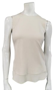 Brunello Cucinelli Sleeveless Stretch Chiffon Top Beige
