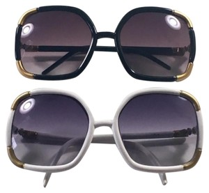 Nordstrom 2 Oversized Square Sunglasses- White and Black