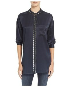 Equipment Button Down Silk Button Down Shirt Deep Ink Blue