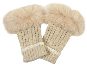 Angora Wool Fur Trim Fingerless Fur Gloves