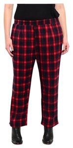 Other Plus Size Curvy Flannel Relaxed Plaid Straight Pants Red and Navy