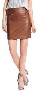 Ann Taylor Leather Luxury Mini Mini Skirt Cognac
