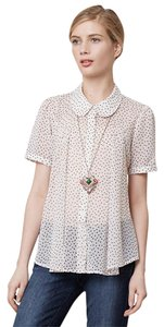 By Two of Us Retro Dot Sheer Top Ivory with black polka dots