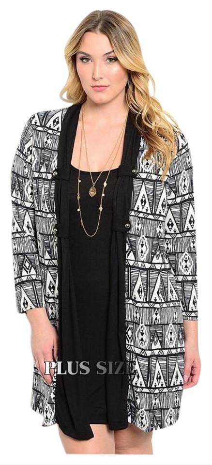 Black New 2pc Tribal W/Attached Cardigan Knee Length Work/Office Dress Size  16 (XL, Plus 0x)