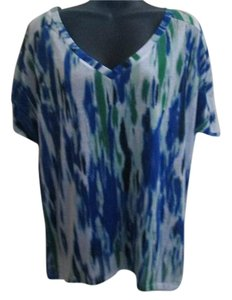 Express Astract Ikat Casual Stretch Top Multicolored
