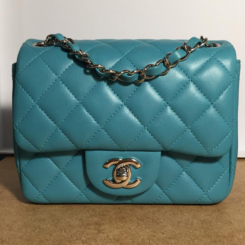 977fd9c385eef6 Chanel Classic Flap Square Mini In Turquoise Lambskin Blue Leather ...
