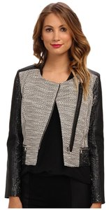 Kenneth Cole Moto Leather Tweed Asymmetric Motorcycle Jacket