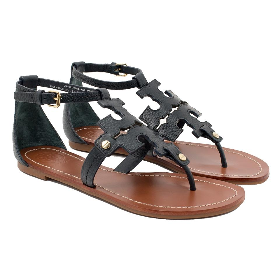 f64159d424613 Tory Burch Navy Phoebe Flat Thong Leather Sandals Size US 7 Regular ...