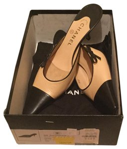 Chanel Leather Cap Toe Bow Black, Beige Mules