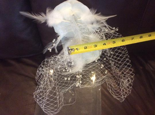 White Birdcage Feather and Flower Bridal Veil
