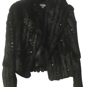 Cache Embellished Rabbit Fur Coat