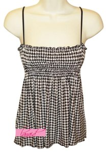 Modcloth Bikini Coverup Maternity Muffintop Stretchy Herringbone Top Black, White